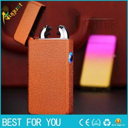 Wholesale Light Cigarette Lighter Rechargeable - New hot Creative personality high quality USB rechargeable windproof lighter double arc lighter with blue light cigarette lighter for man