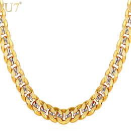 Wholesale Real Men Gold Jewelry - New New Two Tone Gold Chain For Men Jewelry With Stamp Trendy 18K Real Gold Plated 9MM 5 Size Curb Men Necklaces Gift N552