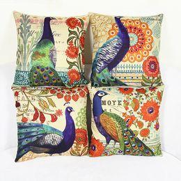 Wholesale Peacock Throw - European Printing Pillow Cover Peacock Pattern 44x44cm Cotton Linen Throw Pillow Cushion Case Home Decorative Pillowcase