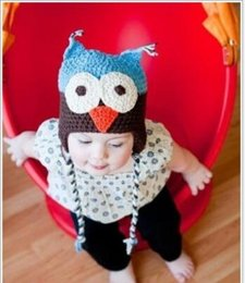 Wholesale Owl Crochet Beanie Hat Children - Hot Selling Winter Wool OWL Kids Manual Cap Crochet Lovely Baby Beanie Handmade Cap Children Infant Knit OWL Hats Wholesale 2016 New Fashion