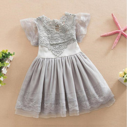 Wholesale Birthday Tutu Outfits For Girls - Summer Puffy Sleeve Girls Tutu Dress Grey Lace Princess Party Dresses Lace Birthday Girls Outfit Flower Dress For weddings