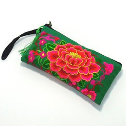 Wholesale Korean Black Dresses For Women - New 2016 Big Peony Lady Long Clutch Wallet Phone Bag High Quality Purse For Women