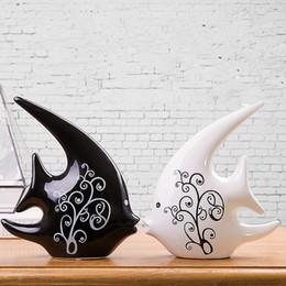 Wholesale Modern Decoration White Vase - 2016 Couple swallows fish vase black white fashion ornaments personalized ceramic crafts furnishings Home Decorations