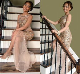 Wholesale Jewel Neck Maxi Dress - Shimmering Evening Dresses 2016 Luxury Beaded Crystal Sheer Sleeveless Side Slit Maxi African Prom Dresses See Through Formal Party Dresses