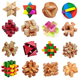 Wholesale Wood Puzzle 3d Wholesale - Wholesale-3D Wooden Toy Kong Ming Luban Lock Traditional Toy 3D Wooden Puzzles Intellectual Toy Kids Magic Cubes Gift