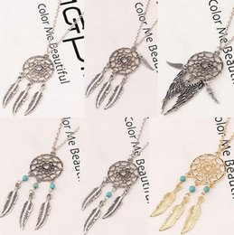 Wholesale Antique Wings - Dream Catcher Statement Necklaces Dreamcatcher Antique Silver Turquoise Wings Feather Long Pendant Necklaces For Women 6 Styles