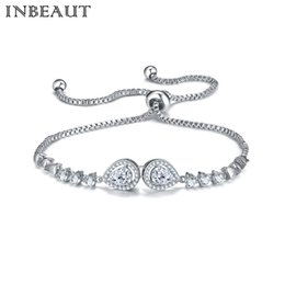 Wholesale Channel Set Princess Cut - Wholesale 2017 New Fashion Platinum plated Silver Color Princess Cut Zircon Stone Chain Bracelet Girl Snake Chains Female Jewelry