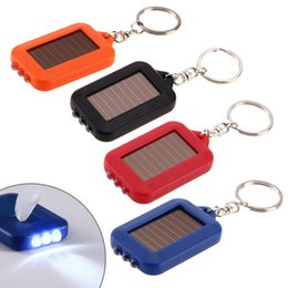 Wholesale Solar Mini Led Outdoor - 100PCS Multifunctional Solar Energy 3 Light LED Electric Torch Key Chain Accessory Outdoor Mini Lamb free shipping