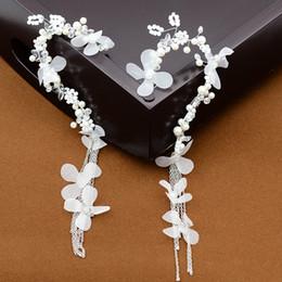 Wholesale Fancy Pearl Earrings - Retail Handmade 1 pair Wedding flower Bride Tassel Butterfly Fringe Ear Cuff Earring Pearl NO PIERCING Gothic Punk Fancy Dress ER739