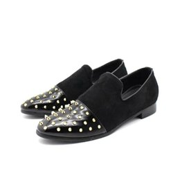 Wholesale Wolf Point - Matte Black Red Slip-On Nubuck Loafers Shoes Men Shoes Head Rivets Shallow Mouth Shoe Spikes Tide Men Anti Wolf Willow