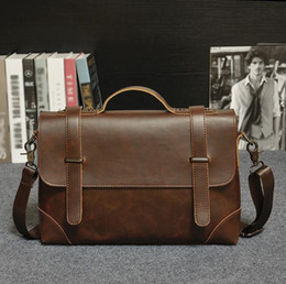 Wholesale High Quality Mens Bags - factory direct selling brand of mens leisure bag bag retro portable high quality male package business men crazy horse leather briefcase
