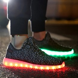 Wholesale Party Dots Led Lights - LED Shoes light colorful Flashing with USB Charge Unisex Fluorescent Couple Shoes For Party and Sport Casual Shoes