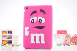 Wholesale Mm Case Iphone Chocolate - 2016 Fashion 3D Cartoon MM Fragrance Chocolate Soft Silicone Case Cover for Apple iPad Mini 2 3 7.9 inch Lovely Rainbow Beans Tablet Cases