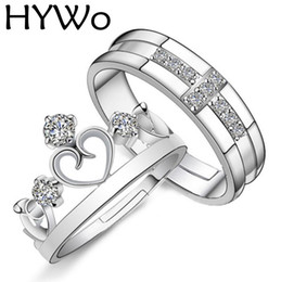 Wholesale Princess Crown Wedding Rings - HYWo Brands 1 Pair Silver Plated Prince Princess Crown CZ Crystal Promise Ring Set Pair for Lovers Couple Rings for Women Men