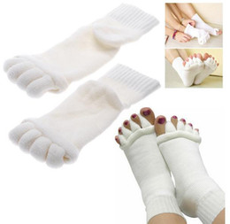Wholesale Foot Alignment Socks - 500pcs Free Shipping Massage Five Toe Socks Fingers Separator Foot Alignment Pain Relief Socks High Quality