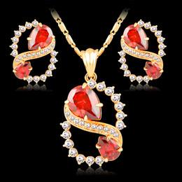 ювелирные наборы 18K шампанское золотое покрытие женщины Кристалл свадьба Рубин цирконий мода ожерелье серьги комплект jewelrys от