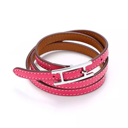 Wholesale Gold Plated Belts - Jewelry wholesale H belt buckle, three layer leather bracelet, Kell bracelet, H letter leather bangles, men and women Bracelet