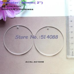 "Wholesale Clear Blank Acrylic - Wholesale- (30pcs lot) 50MM Blank Clear Acrylic Circle Charms Discs Key Chain Ornaments 2""-AC1045E"