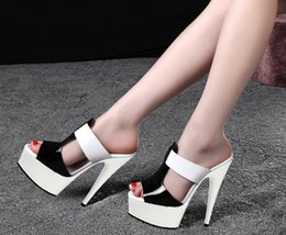 Wholesale High End Dress Shoes Leather - Sexy new patent leather sandals with unique 15 cm high with high-end banquet dress shoes