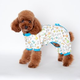 Wholesale Pajamas Cat Print - New arrive Pet Cartoon Printed Cotton Pajamas Small Dog Cat Jumpsuit Coat Shirt Clothes For Teddy Small Dogs