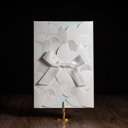 Wholesale White Royal Wedding Card - Wholesale- cw5176 white royal wedding invitation card  greeting card with laser cut and ribbon