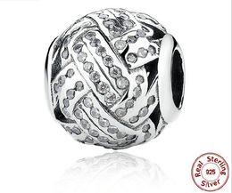 Bracelets de style pandora faits à la main en Ligne-100% 925 Sterling Silver Handmade Diamond Stripe Style Charm Perles Lâches Fit Pandora Serpent Chaîne Bijoux Accessoires BRICOLAGE Bracelet Bracelets