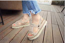 Wholesale Muffin Sandals - 2016 new summer sandals shoes female students a thick bottom all-match muffin lady shoes fringed Rome shoes tide