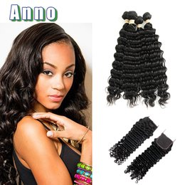 Wholesale Black Aunty - ANNO Human Hair Weave Aunty Funmi 7a Virgin Malaysian Deep Wave With Closure 4 Bundles Black Weave With Bundle And Deals