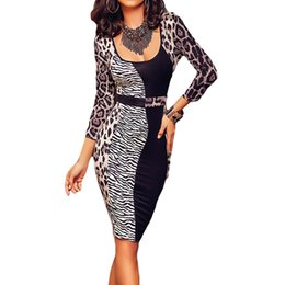 Wholesale Cheap Sexy Bodycon Midi Dresses - 2016 Fashion Office Women Autumn Dress Three Quarter Sleeves Leopard Print Patchwork Cheap Midi Dress Work Wear