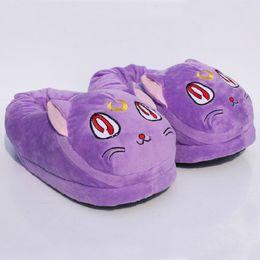 Historieta de la luna del marinero online-Al por mayor-Anime de dibujos animados Sailor Moon Luna gato Zapato de felpa zapatos de interior cálido invierno 11 pulgadas