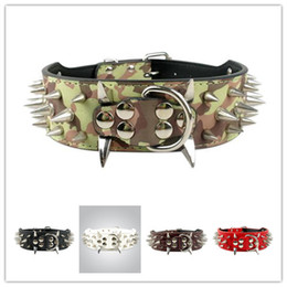 "Wholesale Small Spike Dog Collars - Spiked Studded Leather Dog Collars Wide Cool Sharp 15-24"" For Medium Large Breeds Pitbull Mastiff Boxer Bully 4 Sizes"