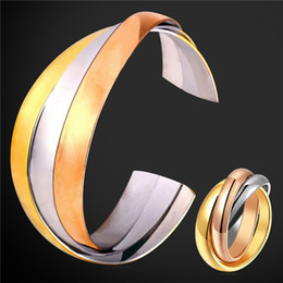 Wholesale Multi Color Stainless Steel Rings - U7 Stainless Steel Bracelet Ring Set For Women Fashion Jewelry Mix Color Rose Gold 18K Gold Multi Layers Cuff Bracelet Perfect Gift