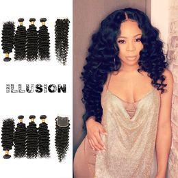 Wholesale Indian Remy Hair Wholesale Wig - Virgin Human Hair 4x4 Lace Closure Brazilian Deep Wave Brazilian Hair 4Bundles Remy Human Hair Wigs For Black Women