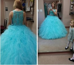 Wholesale Tulle Skirt Quinceanera Dresses - Two Pieces Blue Quinceanera Dresses Ball Gown Vintage Lace Cascading Ruffles Puffy Skirt Princess Sweet 16 Prom Dresses For Girls