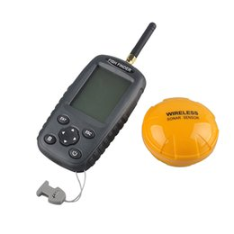 Wholesale Wireless Fishing - FF998 Fish finder Upgrade Russian menu Rechargeable Waterpoof Wireless Fishfinder Sensor Wholesale 125KHz Sonar Echo Sounder 2508021