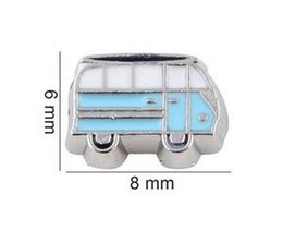 Wholesale Bus Slides - 20pcs lot Blue Bus Floating Locket Charms DIY Alloy Accessories Fit For Living Magnetic Memory Glass Floating Locket