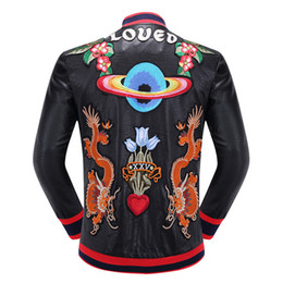 Wholesale Leather Men Coat Very - Luxury brand faux leather coat front flower love birds embroidery back two tragon UFO loved mbroidery very nice looking jacket