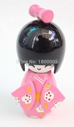 Wholesale Oriental Dolls - 9 cm CUTE collectibles Oriental Japanese Wooden Doll KOKESHI with KIMONO Figure ,White doll kids gift