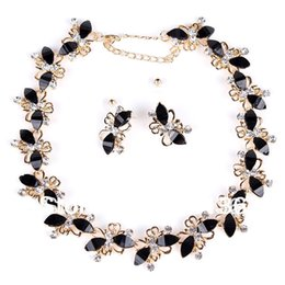 Wholesale Green Crystal Butterfly Beads - PN12336 Butterfly Jewelry Sets Gold Plate Black Resin Beads Chocker Collar Party Gifts Bridal Jewelry Woman's Necklace Earring