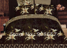 Wholesale Black Floral Queen Sheet Set - Queen Full bed in a bag sets 100% Cotton beige flower black floral pattern printed duvet quilt covers 4pcs with sheets bed linen