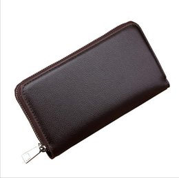 Wholesale Hand Card - European and American business man purse custom hand long purse Men zipper wallet high-capacity PU leather wallets