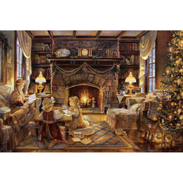 Wholesale Christmas Wall Hanging Decorations - Romance Christmas Cottage Full Drill DIY Mosaic Needlework Diamond Painting Embroidery Cross Stitch Craft Kit Wall Home Hanging Decor