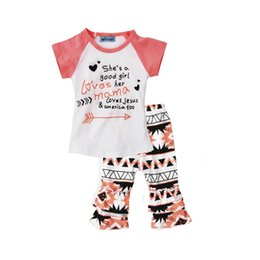 Wholesale Baby Jesus - girls clothing set she's a good girl loves her mama loves jesus & america too letter arrow t shirt+pants 2017 summer baby girl clothing sets