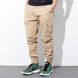 Wholesale Cargo For Mens - Wholesale-Hip Hop Mens Skinny Cargo Pants Black Khaki And Blue Joggers With Pockets On Side For Men Chino Pant