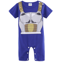 Wholesale Baby Boy 12 18 - Baby Boys Dragon Ball Z Funny Costume Vegeta Cute Romper Short Sleeve Infant Casual Playsuits Party DBZ Halloween Cos Toddler Goku Son