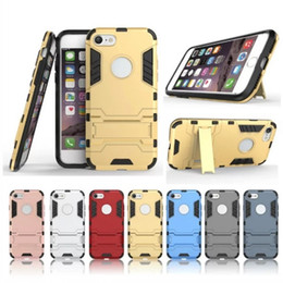 Wholesale Iphone 3d Cases Iron Man - For Apple iPhone 7 PC + Silicone Iron Man Anti Shock Proof 3D Shield Case For iPhone 7 plus 6s plus 5s Stand Cover Case 4.7''