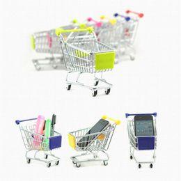 Wholesale Mini Model Shop - Children Mini Colorful Emulational Metal Supermarket Shopping Cart Storage Basket Toys Gift Pretend Play and Dress-up