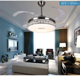 42inch Ceiling Chandelier Fan Lights Frequency Fans Stealth LED Modern Minimalist Living Room Dining