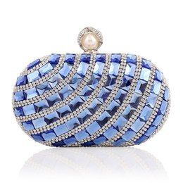 Wholesale Blue Satin Evening Bag - hot sale fashion lady party bags purses diamond clutch handbags 17cm rhinestone crystal glittering chain beaded evening bags