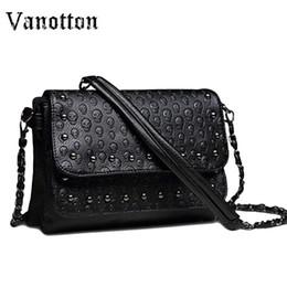 Wholesale Handbag Clutch Black Skull - 2017 Messenger Bags Women Brand Clutches Skull Crossbody Bag Small Shoulder Bag Sac A Main Soft Leather Handbags
